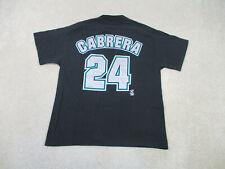 VINTAGE Florida Marlins Shirt Adult Large Black Miguel Cabrera Baseball Mens B2*