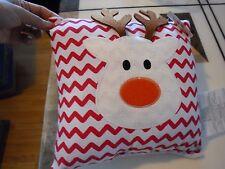 "New ! Plush Decor Reindeer Pillow Size 9"" X 9"""