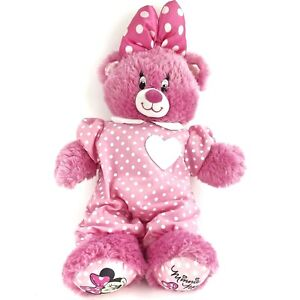 """17"""" Build A Bear Disney Minnie Mouse Pink Teddy w/ Bow Stuffed Plush Outfit Dots"""