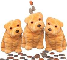 "3 Cute Puppy Dog Safe Bank For Kids Money Coins Savings,5"" inch.(piggy bank) New"