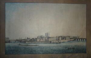 GRANDE GRAVURE AQUARELLEE XVIII° PAYSAGE PARIS NOTRE DAME SEINE INVALIDES 1790