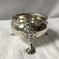 More details for 1752 georgian solid silver large salt, on three shell pad foot legs. 116.7g