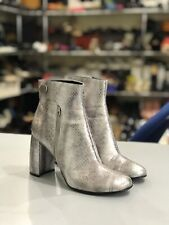 Stella McCartney Silver Metallic Leather Ankle Boots Size 39