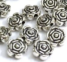 20 Silver Pewter Rose Flower 6x4mm Beads ~ Lead-Free ~