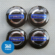 4 NEW GENUINE VOLVO ALLOY WHEEL CENTRE CAPS BLACK S V XC 60 90 40 31373765