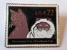 Postage Stamp Replica Pin Abyssinian & Himalayan Cats Usps Post Office New