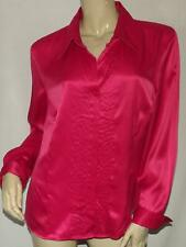 Womens Faux Satin Shirt Size XL CATO Pink Smocked Front Blouse Silky
