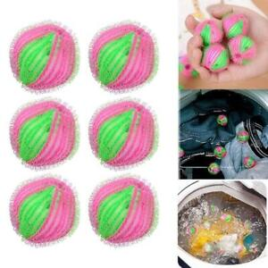 6Pcs Reusable Laundry Washing Machine Balls Hair Fluff Grabbing  Remove Balls