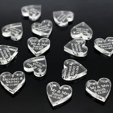 Personalised Clear Acrylic Love Heart Tag Wedding Party Table Decorations Favour