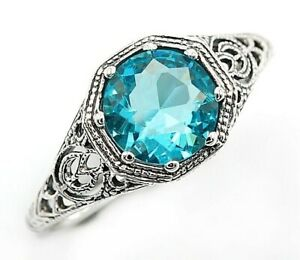 2CT Aquamarine 925 Solid Sterling Silver Victorian Style Ring Jewelry Sz 7, FL2