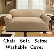 2 Seater Cream Easy Fit Stretch Elastic Fabric Chair Sofa Settee Slip Cover