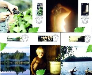 Erotic Romantic Sauna Summer Landscape Finland Mint Maxi Cards (5) FDC 2009
