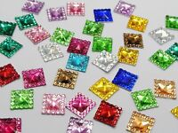200 Mixed Color Acrylic Flatback Square Rhinestone Gems 10X10mm Embellishments