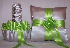 Silver Satin / Green Apple Trim Flower Girl Basket & Ring Bearer Pillow