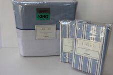 "WILLIAMS SONOMA ""OXFORD"" KING DUVET COVER SET-BLUE 3PC"