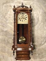 RARE VINTAGE ANTIQUE USA NEW HAVEN WALL STERLING CLOCK W PENDULUM,AMAZING CASE