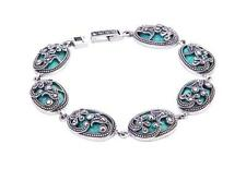 argento sterling marcasite & Turchese STRAVAGANTI bracciale