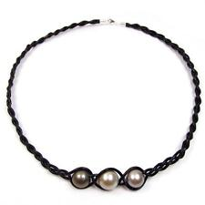 "17.5"" 11-12mm Multi Color Tahitian Pearl Braided Leather Cord Necklace"