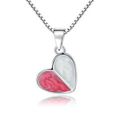 925 Sterling Silver Necklace White Pink Crystal Glue Heart Pendant Women Jewelry