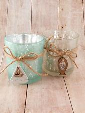 2 Stück Teelichthalter groß Maritim Windlicht Teelicht Glas Fisch Boot Metallic