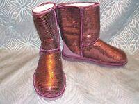 New Womens UGG Classic Short Sparkles Port Wine Sequin Sheepskin Boots