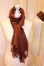 Brown Pashmina Silk Shawl Scarf Wrap Summer Handmade Gift Fine Knit Cashmere NEW