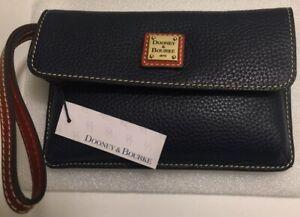 Dooney & Bourke Pebble Grain Milly Wristlet~Midnight Blue~NWT $198.
