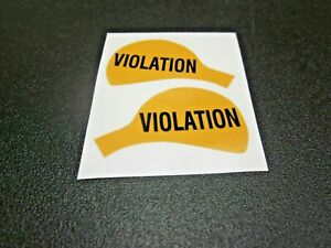 """Duncan Parking Meter Yellow High Quality Decals """"VIOLATION"""" Set Front/back"""