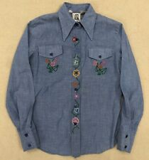 Vintage Western Shirt Womens Embroidered Flowers Hippie Chambray Custom Small
