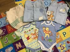 Baby 6-12 Bundle: X2 Disney Bodysuits, X2 Playsuits And Hand Knitted Cardigan