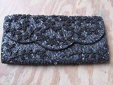 VINTAGE DELILL HANDBAG Purse Wallet Beaded Black Elegant Classic Style Beads WOW