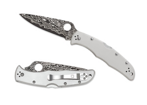 Spyderco Endura Lockback Knife Titanium Handle Damascus Pocket Knives C10TIPD