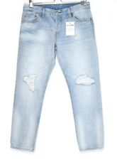 Levis 501 ct Boyfriend Tapered Ripped Light Blue Cropped Jeans 10 W28 L32 L28