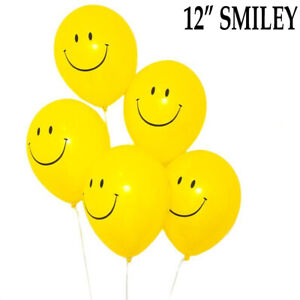 "Smiley Face with 90s Party Decorations balloons 12""inch Helium Quality smile UK"
