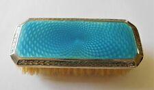Antique Sterling Silver Blue Guilloche Enamel small vanity brush c 1926 U.K.