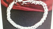 """New 925 Sterling Silver 6mm Twisted Braided Chain bracelet 8"""" Ships Today"""