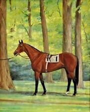 "Jane Thayer (US, 20th C.) Oil Painting Champion Race Horse ""Damascus"", c.1960's"