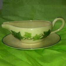 FRANCISCAN IVY GRAVY BOAT & ATTACHED UNDERPLATE Old Mark Usa
