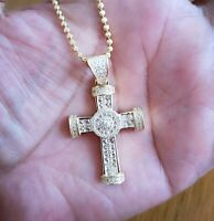 3Ct Diamond Cross Pendant Necklace with Chain 14K Yellow Gold over Women's Men's