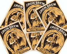 TRADERS or WHOLESALE LOT of IRN BRU OLD DRINK LABELS OLD BLACKSMITH SCENE+BOTTLE
