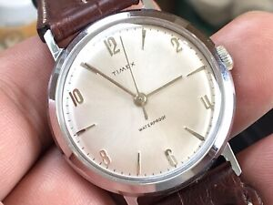 Vintage 1961 Timex Marlin Series Mechanic Men's Watch Serviced New Leather Strap