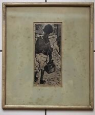 "WOOD BLOCK PRINT SIGNED ""TONSOM"" (2of 2) B&W  IMAGE OF MAN WITH TOOLBOX"