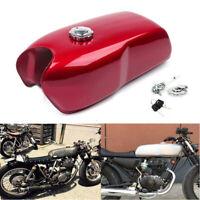 9L / 2.4Gal Vintage Motorcycle Bikes Cafe Racer Seat Fuel Gas Tank & Cap Switch