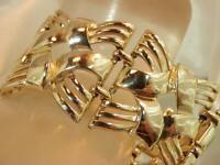 Wide Gold Tone Coro Signed Silver Tone Bracelet Vintage 60s 71D9