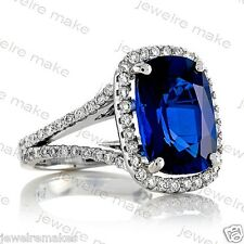 Certified Blue Sapphir Cushion Diamond Engagement & Wedding 14K White Gold Ring