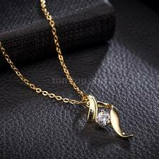 Women Girl Fashion Gold Plated Shiny Crystal Zircon Pendant Chain Necklace H6B5