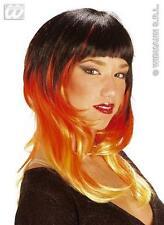 Long Black Red Orange Wig Tri Colour Vampiress Temptress Halloween Fancy Dress