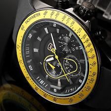 SHARK Fashion Chronograph 24 Hours Silicone Quartz Yellow Men Sport Wrist Watch
