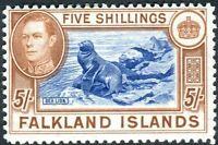 FALKLAND ISLANDS-1938-50 5/- Blue & Chestnut.  A lightly mounted mint Sg 161