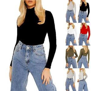 Ladies Womens High Polo Turtle Neck Stretchy Long Sleeve Casual Plain Basic Top